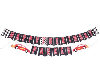 Race Car Birthday Banner - Race Car Checkered Flag Birthday Banner - Cars Birthday Banner - Race Car Party Decorations