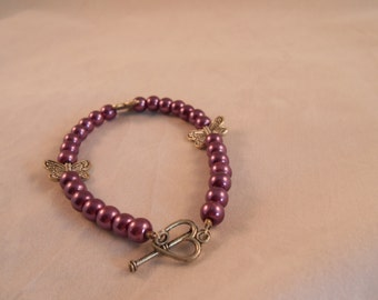 Purple dyed pearl bracelet,pearl and butterfly bracelet,purple pearl braclet