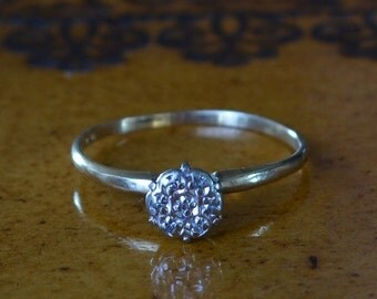 DEADsy LAST GASP SALE Antique Diamond Engagement Ring // Seven Diamond Art Deco Engagement Ring // Edwardian Engagement Ring