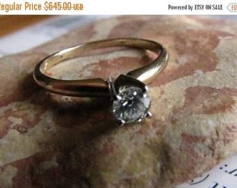 DEADsy LAST GASP SALE Simple Diamond Engagement Ring : Solitaire Diamond Vintage Engagement Ring, Two Tone Gold Diamond Wedding Band, Size 7