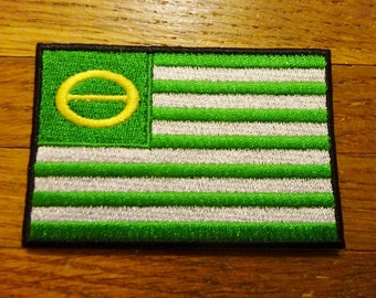 Ecology Flag Patch. Embroidered Patch. Iron On Patch. Environmental. Greenpeace. Recycling. Tree Hugger. Earth First. Upcycle.