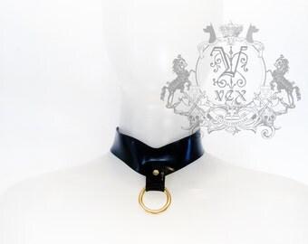 Latex Rubber ARCH Fetish Bondage Collar Choker -  by Vex Clothing Ring Collar