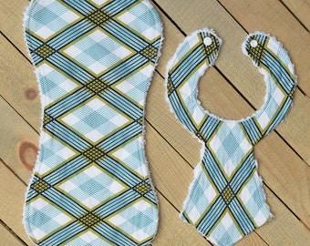 Closeout Blue Plaid Necktie Bib/Burpie Set