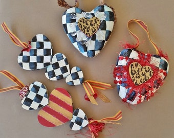 Valentine Heart Gift Decor, Hand Painted Hearts Set of 4 Paper Mache and Wood Valentine Hearts, Leopard Hearts, Check Hearts
