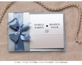 Luxury Wedding Invitations, satin ribbon, bow with RSVP postcard or card
