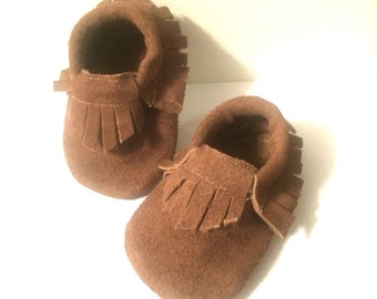 Baby Moccasins in Leather Chocolate Brown Baby shoes ON SALE