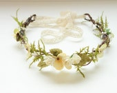 Flower Crown, Flower Girl Crown, Boho Wedding Headpiece, Maternity Photo Shoot, Wedding Flower Crown, Woodland Wedding,Fern Head Wreath-FAWN