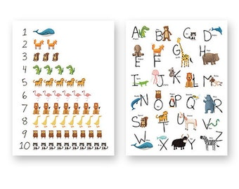 Animal Alphabet and Numbers print set. Alphabet in catalan, alphabet in italiano, alphabet in spanish, animal numbers, from one to ten