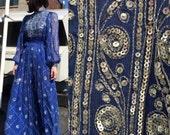 Reserved for ELS99 Vintage 70s Cobalt Silk Embellished Dress