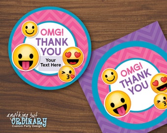 Emoji Thank You Tags, Printable Girl's Emoji Party Gift Tags, Editable Circle Labels, INSTANT DOWNLOAD, digital file