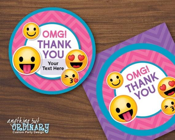 Emoji Thank You Tags Printable Girl S Emoji Party Gift
