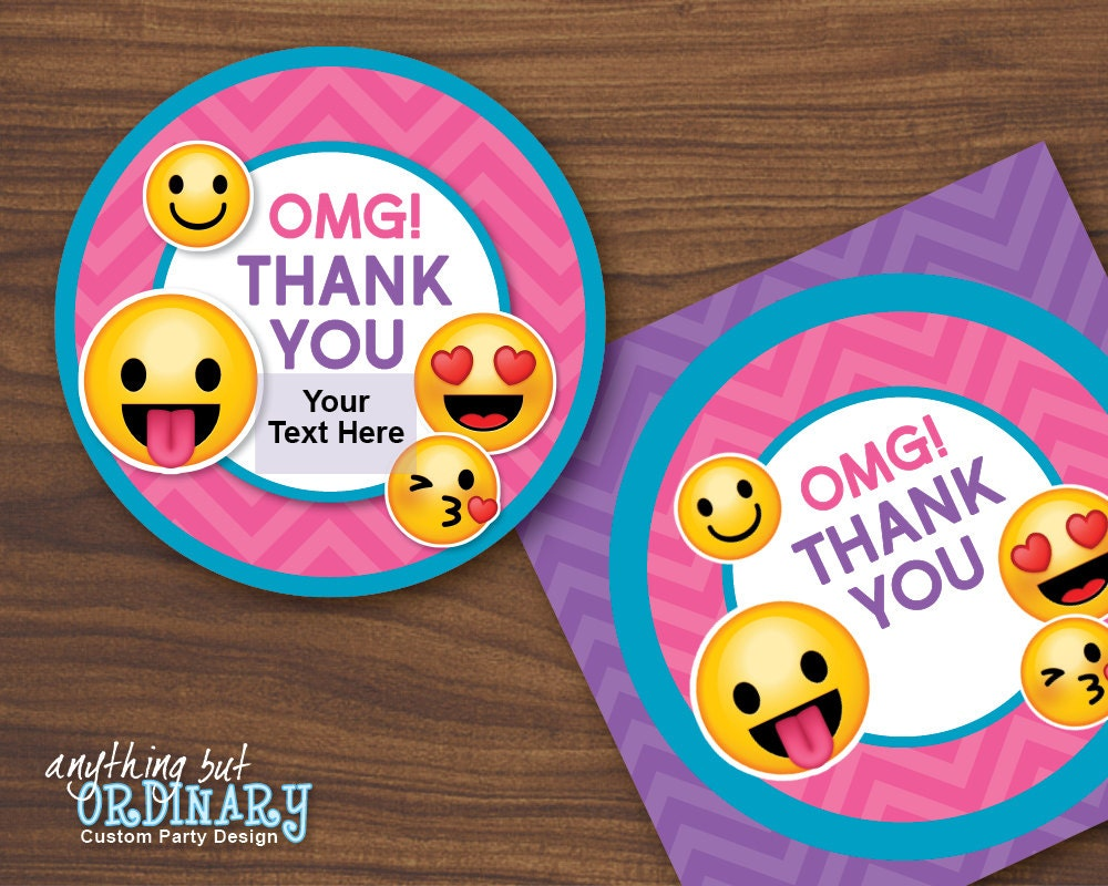 Emoji Thank You Tags Printable Girl's Emoji Party Gift