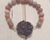 SALE Amethyst druzy bracelet; snow quartz bracelet; purple druzy bracelet