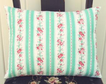pretty vintage mint ticking stripe pillow cover 12x16