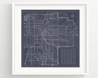 Denver Colorado Map Print - Vintage Blueprint - Wall Art - Dark Blue **DIGITAL DOWNLOAD VERSION**
