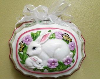 "Franklin Mint ~Le cordon blue porcelian 8-1/4"" jello mold ~ bunny rabbit shabby chic wall decor baby room Easter decor Vintage"