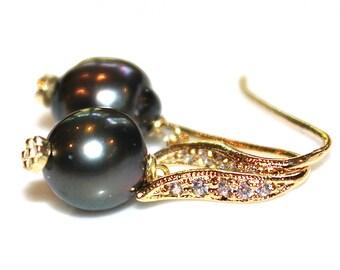Dark Tahitian Pearl Earring Pearl Bridal Earring Wedding Earring Pave Earrings Bridesmaid Tahitian Earring Large Pearl Earring