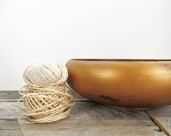 Painted Bowl - Copper - Vintage Modern Upcycled - Large Storage Bowl