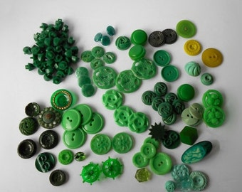 Vintage Green Buttons Old light dark chartreuse aqua