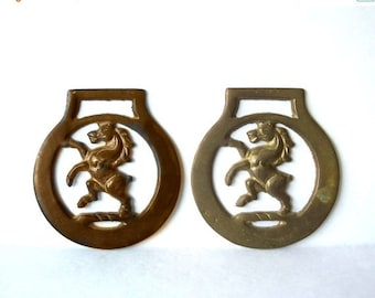 Vintage Horse Brass Two, Pair
