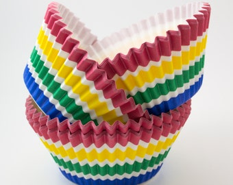 Rainbox Stripe cupcake liners (approx 40 ct) - Whimsical baking muffin cups greaseproof bulk cupcake papers