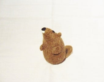 Needle Felted Groundhog -  miniature groundhog figure - 100% Shetland wool - wool felt groundhog - groundhog day