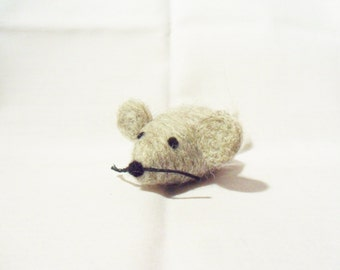 Needle Felted Mouse -  miniature grey mouse figure - 100% corridale wool - wool felt mouse