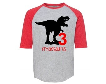Dinosaur Birthday Shirt, Dinosaur Shirt, Dinosaur Party, Raglan Tee, Birthday Dinosaur Party, Trex Shirt