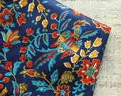 Vintage cotton fabric 3.25 yards in 1 listing blue orange red birds boho fabric