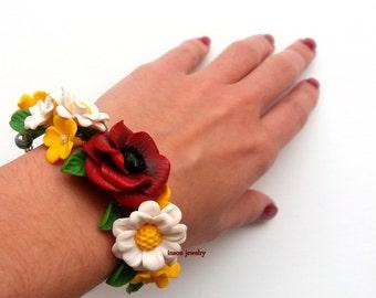 Floral Accessories, Flower Bracelet, Bracelet For Women, Corsage Bracelet, Poppy Jewelry, Daisy Jewelry, Wedding Jewelry, Bridal Bracelet