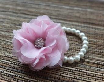 Wrist Corsage, Chiffon FlowerCorsage (Pink), Chiffon Rose corsage, Pink Corsage