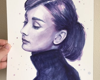 Audrey Hepburn Portrait, ORIGINAL Watercolor Painting, Audrey Art, Audrey Watercolor, Purples and Blues, Fashion Illustration 9x12