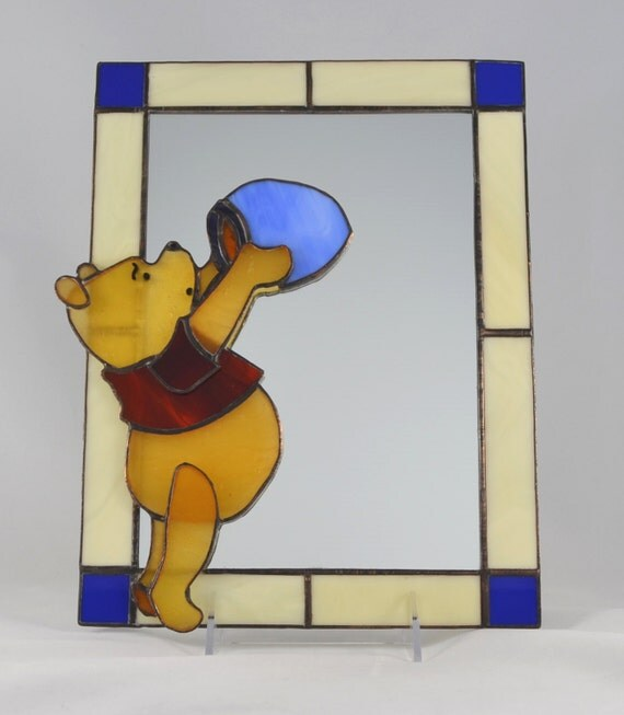 Stained glass winnie the pooh appliqu mirror for Applique miroir