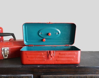 Vintage Red Metal Union Tool Box