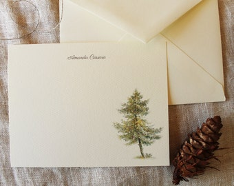 Pine Tree Personalized Note Cards Set of 24 with Envelopes