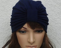 Navy blue turban hat, women's turban, stretchy turban, front knotted turban for women, elegant hat, stylish turban, viscose jersey turban