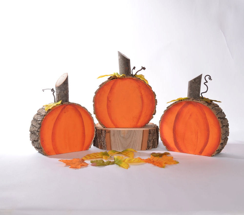 Wooden Pumpkins Log Slice Pumpkins Rustic Log Pumpkins