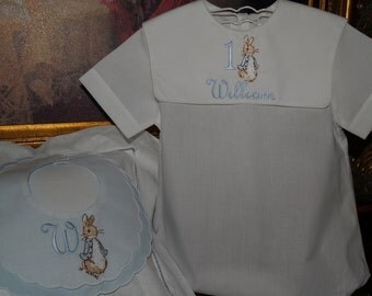Beatrix Potter's  Peter Rabbit White Bubble And Bib For His First Birthday or Easter