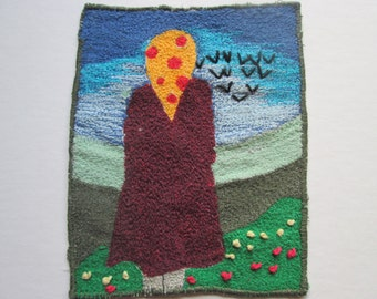 textile art, thread painting, free machine embroidery, original art,  fits 8 x 8 inch frame