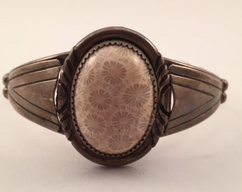 Vintage Petrified Coral? Navajo Sterling Cuff