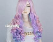 Multi-Coloured 60-75cm Halloween Long Curly Women Anime Lolita Cosplay Kawaii