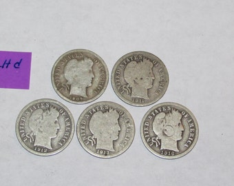 Lot of 5 Liberty Head Barber Dimes 1907 to 1916 US 90% Silver Coins ZLHd.2