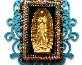 Our Lady Of Guadalupe found object mixed media religious wall decor folk art Blessed Mother art religious art Catholic art