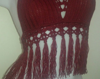 Claret red-New style Sexy Crochet Half Top,bandeau top,hippie style top,beach wear,festival top,summer hippy top-Hippie Fringe Halter Top
