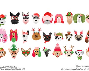 Christmas dog digital clip art  for Personal and Commercial use - INSTANT DOWNLOAD