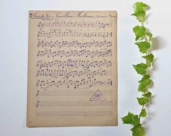 old handwritten music sheet  - Cavalleria rusticana.