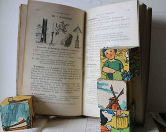 old french school book dated 1912 with illustrations
