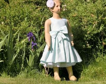 Mint flower girl dress, rustic flower girl dress, mint green flower girl dress, linen flower girl dress, country flower girl mint dress