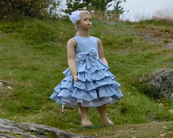 Light blue flower girl dress. Organic cotton flower girl dress. Ruffle flower girl dress. Blue flower girl dress. Girls special occasion