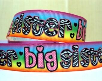 "7/8"" Big Sister Multi Colored Ribbon - 5 yards"